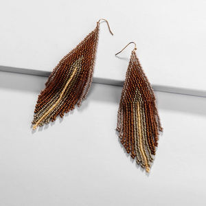 Boho Beaded Tassel Earrings, Brown